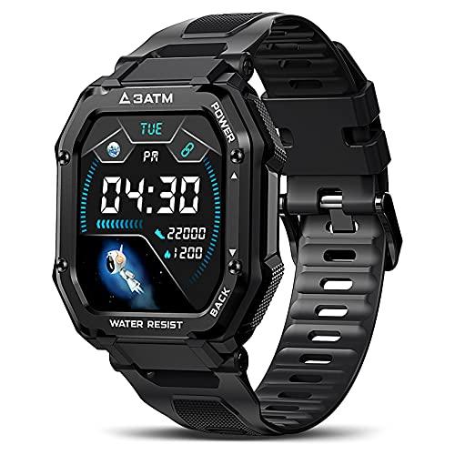 KOSPET Rock Smartwatch Herren 1.69 Zoll Voll Touchscreen Sportuhr 3ATM Wasserdicht Fitness Tracker 20 Sportmodi mit Blutdruckmessung Pulsuhr Schrittzähler iOS Android Kompatibel, Schwarz
