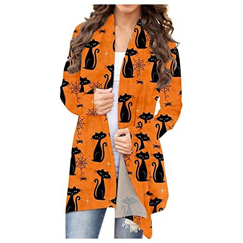 Blingko Langarmshirt Damen Lang Strickjacke Langarm Mantel Casual Lose Sweatshirt mit Halloween Print Jackenoberteil Leicht Atmungsaktiv Hemd Tops Oversize Halloween Kostüm