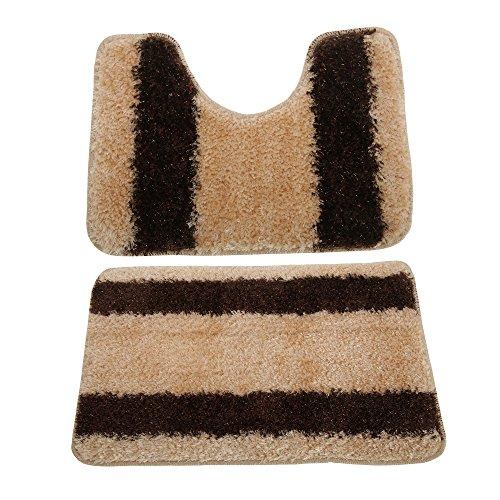 Universal Textiles Dos alfombras para baño (Talla Única) (Crema/marrón)
