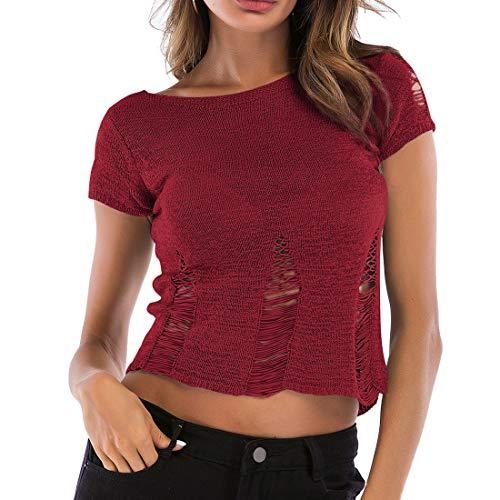 Chaleco casual para mujer, camiseta de manga corta básica, camisola simple,chaleco para mujer chaleco de punto y suéter de manga corta,dobladillo de verano para mujer, camisola hueca, chaleco de punto