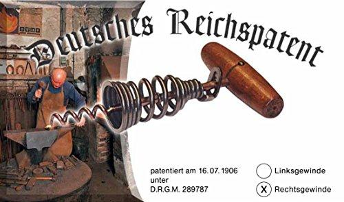 Mechanische Werkstätte Federkorkenzieher Deutsches Reichspatent -NEU- mit Griff in Mahagoni Optik