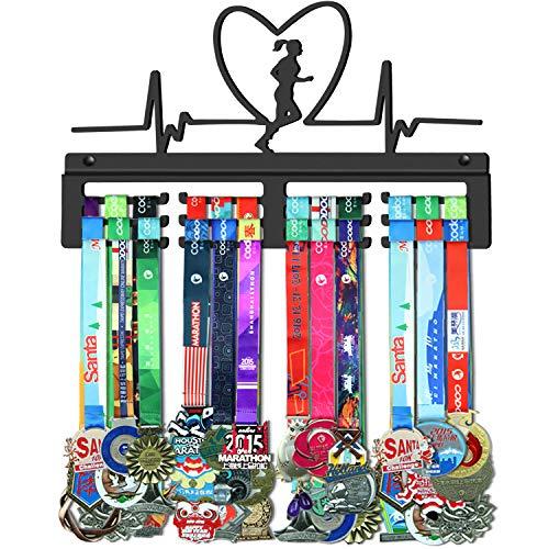 GENOVESE Medaillen-Aufhänger für Damen, zum Laufen, Marathon, Medaillen-Ausstellungsständer, schwarzer, stabiler Stahl-Metallhalter, Wandhalterung für über 50 Medaillen