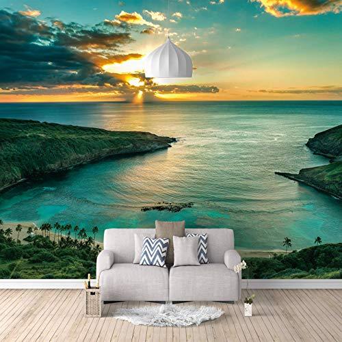 RCIFGU Fototapeten Meereslandschaft in der Abenddämmerung 3d stereo wohnzimmer sofa TV hintergrund wand papier schlafzimmer vlies tapete selbstklebend große wandbilder 400x280cm
