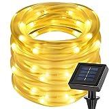 cuzile Manguera LED Solar 50 LED Resistente al Agua IP55 Tiras de LED de Exterior, Sensor de luz, Blanco cálido Decoración para Navidad, Fiestas, Bodas, Patio, Dormitorio, Jardines, Festivales