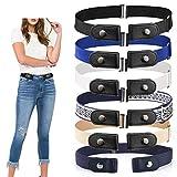 No Buckle Stretch Belt Women and Men, Invisible Adjustable Elastic Buckle Free Belt for Jeans (Black)