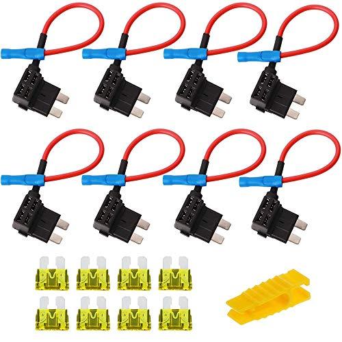 8 Stück 12V Autosicherungen Stromdieb, Bolatus Flachsicherungsadapter Mittel Größe KFZ Stecksicherung Verteiler Add-A-Schaltung Flachsicherungen Standard Sicherungshalter mit 20A Sicherung (Standard)