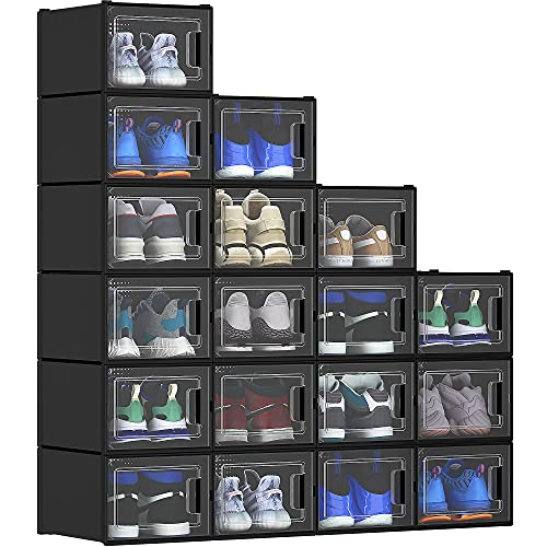 YITAHOME XL Shoe Storage Box, 18 PCS Shoe Storage Organizers Stackable Shoe Storage Box Rack Containers Drawers - Black (X-Large Szie-Fit for All Size Shoes)