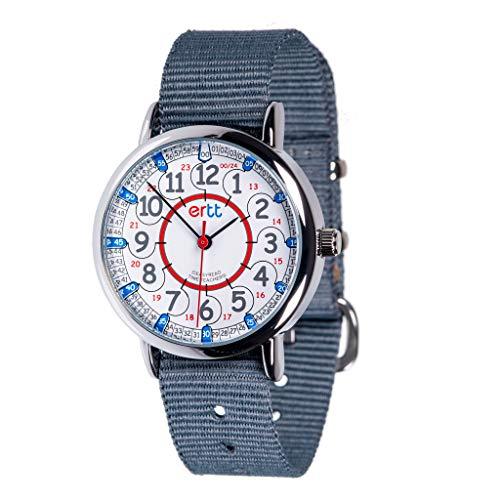 "EasyRead Time Teacher Kinderuhr, 12- & 24-Stunden ""Digital""-Uhrzeit, Rot-blau-graues Zifferblatt / Graues Armband"