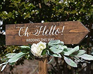 CELYCASY Oh Hello Wedding Arrow Sign Wood Wedding Directional Sign with Stake Rustic Wedding Direction Signs Boho Wedding Decor