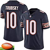 CSHASHA Mitchell Trubisky # 10 Jersey Rugby Hommes -NFL Chicago Bears - Broderie Courte SleeveSport Maillots T-Shirt De Football Black-S