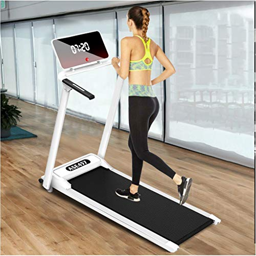 Electric Folding Treadmill   Motorized Portable Pad Treadmills Walking Jogging Running Exercise Fitness Machine w/Incline LCD Display and Bluetooth Speaker (from US, White)