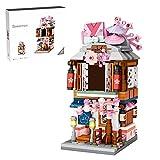 Mysta Vista japonesa de calle, bloques de construcción, tienda japonesa de kimono, arquitectura creativa, 418 piezas, piezas de construcción de pinza, pieza de coleccionista, compatible con casa Lego.