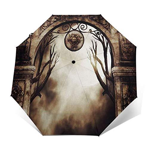 Paraguas Plegable Automático Impermeable Velas encendidas góticas H, Paraguas De Viaje Compacto a Prueba De Viento, Folding Umbrella, Dosel Reforzado, Mango Ergonómico