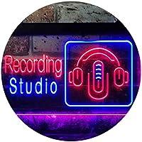 Recording Studio Headphone Dual Color LED看板 ネオンプレート サイン 標識 青色 + 赤色 600 x 400mm st6s64-i3562-br