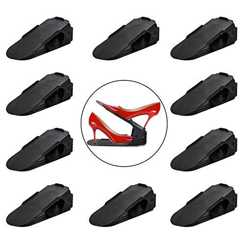 Hengda 10 Stück Einstellbare Schuhregale, Schuhstapler/Schuhhalter Set, Kunststoff-schwarz für Platzsparend