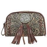 American West Leather - Bolsa de cosméticos con llavero hecho a mano (marrón carbón, floral Concho)
