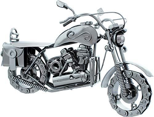 Brubaker Deko Skulptur Dekofigur aus Eisen Chopper Cruiser - Kettenräder - Satteltaschen - 24,5 x 15 x 10,5 cm - Handarbeit - Geschenkidee für Motorrad Fans