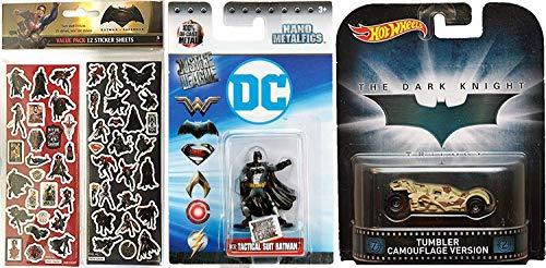 Hot Wheels Camo Retro Batman - Vaso de coche con diseño de Batman v Superman: Dawn of Justice Nano Mini Figura Pegatinas 3 artículos