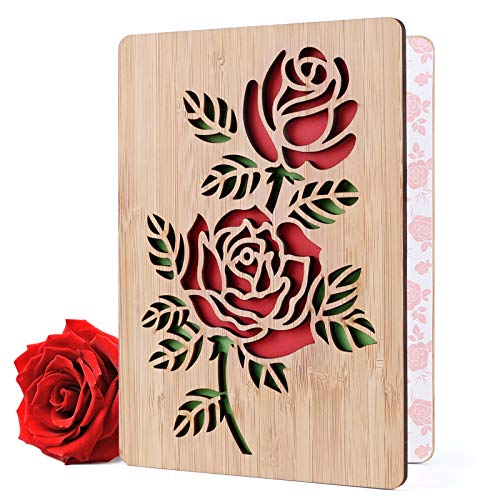 Geburtstagskarte Klappkarte für Mutter Freundin Frauen, Besondere Glückwunschkarte für Valentinstag Jahrestag Geburtstag, Bambusholz mit Umschlag Geschenkidee