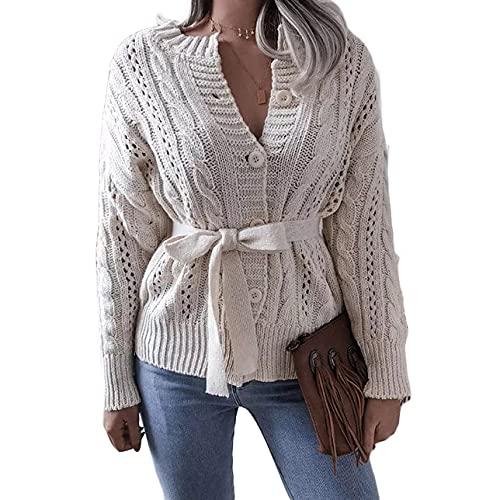 Pabuyafa Mujeres Crochet Y2K punto con cinturón Cardigan botón de manga larga cable abierto frente suéter abrigos de punto, blanco, S