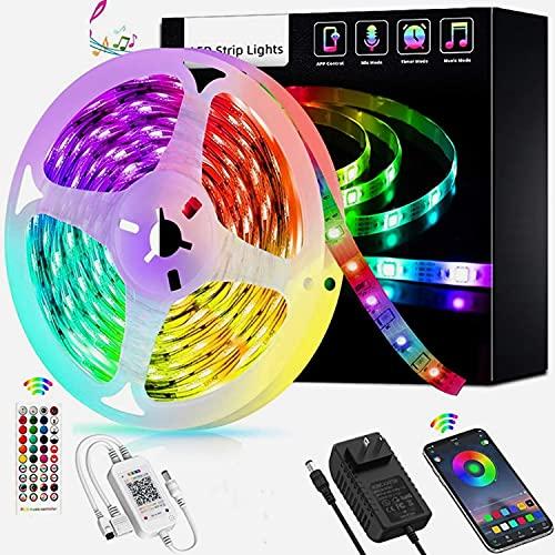 Tiras LED Inteligente Tiras de Luz LED Control de APP, RGB Tiras de Luces con Control Remoto IR, Sincronizado Con el Ritmo de la Música, para Dormitorio Sala Bar Fiesta Decoración (Size : 5M)