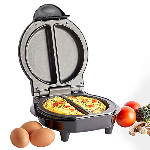VonShef Omelette Maker – Dual Electric Multi Cooker for Omelettes, Fried & Scrambled Eggs with Easy Clean Non-Stick Pan for Healthy Cooking & Compact Design for Easy Storage– 700W