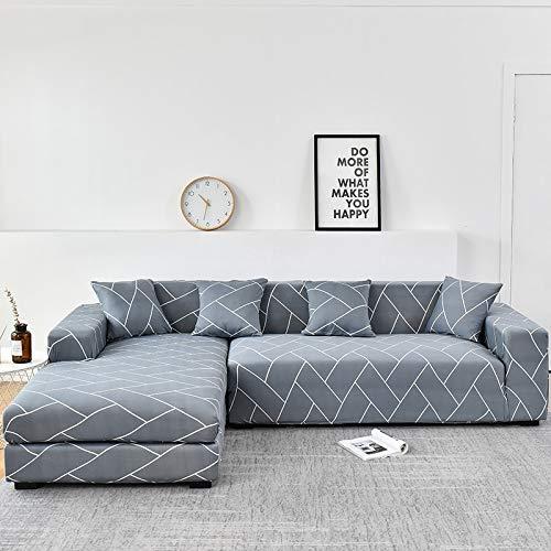ASCV Fundas de sofá de Esquina para Sala de Estar Funda elástica elástica Sofá seccional Chaise Longue Funda de sofá en Forma de L A9 1 Plaza