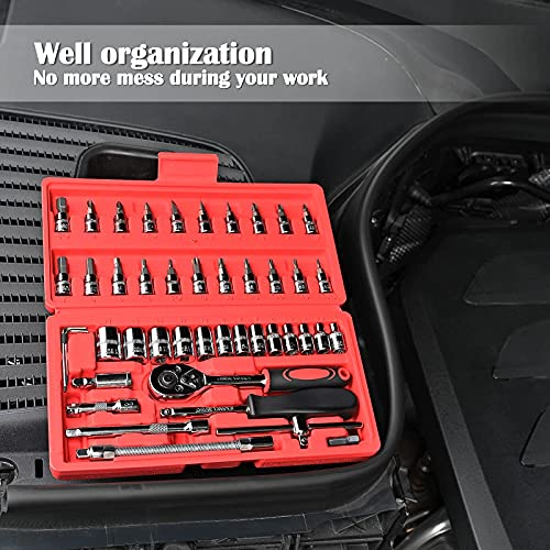Egofine 46 Pieces 1/4 inch Drive Ratchet Wrench Socket Set, with Bit Socket Set Metric and Extension Bar for Auto Repairing and Household, with Storage Case