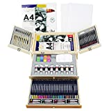 Deluxe Art Supplies, 88 Pieces Art Set in Portable Wooden Case, with 2 Drawing Books and 4 Canvas Panels, Professional Art Set for Painting & Drawing, Art Kit for Kids, Teens and Adults/Gift