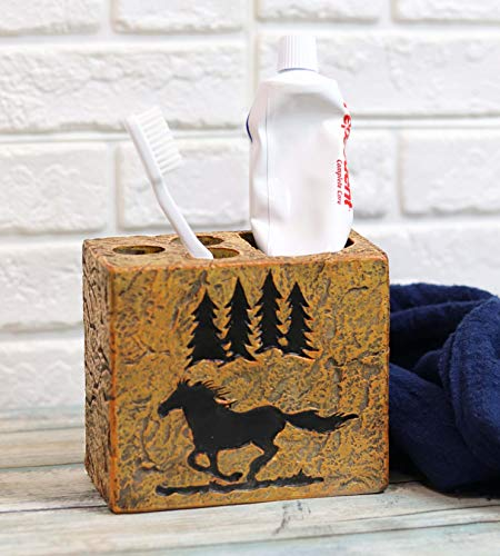 Ebros Wildlife Rustic Galloping Mustang Horse with Pine Trees Silhouette Bathroom Accent Textured Resin Figurine Western Country Cabin Lodge Accessories (Toothbrush and Toothpaste Holder)