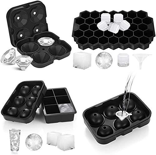 4 moldes de silicona para cubitos de hielo con tapa, 6 cuadrados grandes + 6 moldes de bolas de hielo + 4 moldes de diamante + 37 compartimentos hexagonales con embudo, sin BPA, para whisky y zumo
