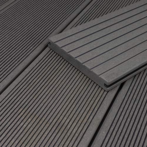 HORI® WPC-Terrassendiele Grau Massivdiele I Komplettset inkl. 40x60 mm Unterkonstruktion & Clips I Fläche: 5 m² I 2,90 m Dielenlänge