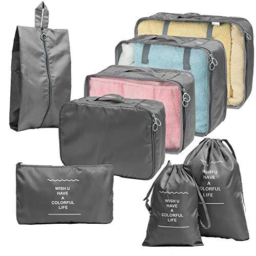 Organizer da viaggio, per bagagli, per 8 piccoli oggetti, con borsa per scarpe, vestiti asciutti, scarpe, cosmetici, libri Blu Lake Blue (grigio)