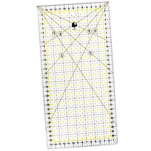 OfficeTree Regla Costura 30 x 15 cm - Regla de Patchwork para Costura y patronaje - Regla Patchwork de acrílico para Cortes con Medidas exactas