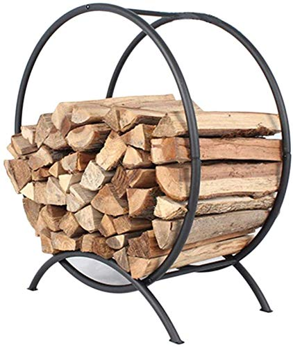 AJH Home and Hearth Firewood Holder Log Basket, Round Firewood Storage Carrier for Outdoor Fireplace Pit Decor Wood Holders, Black