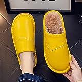 Zapatillas De Casa Mujer,Pantuflas para Mujer Invierno Amarillo Cuero De La PU Costura Cierre Impermeable Suave Y Cálido Piso Pantuflas Mullidas Zapatillas Lavables Antideslizantes para Interiores