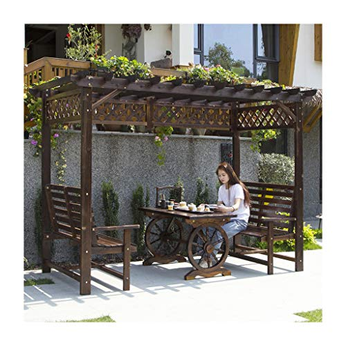 Garden Furniture Gazebo Gazebos for Patios, Wooden Grape Rack Outdoor Courtyard Anticorrosive Wood Pavilion with Creative Wheel Table, Villa Climbing Rattan Frame, for Lawn, Garden, Backyard Outdoor C