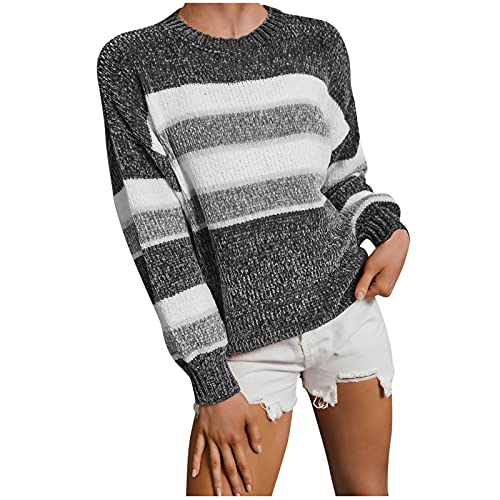 KOKOW Stripe Chenille Sweaters for Women Crewneck Color Block Long Sleeve Knit Shirts Casual Lightweight Knitted Sweatshirt Gray