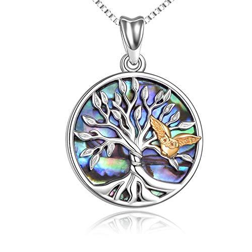 Collar de árbol de la vida Collar con colgante de árbol genealógico de plata esterlina con joyas de búho Regalos para mujeres adolescentes