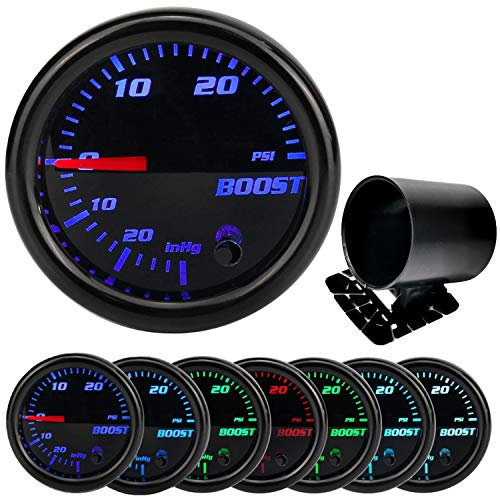 7 Color 30 Psi Turbo Boost/Vacuum Gauge Kit - Includes Single Hole Dash Gauge Pod Holder & Mechanical Hose & T-Fitting - Black Dial - Smoked Lens - for Car & Truck - 2 1/16', 52mm Boost Gauge Meter