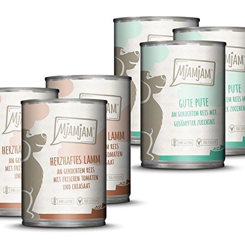 MjAMjAM - Premium Nassfutter für Hunde - Monopaket 1 - mit Lamm und Pute, 6er Pack (6 x 400 g), naturbelassen mit extra viel Fleisch