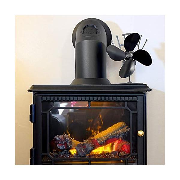 Ventilador de Estufa de 4 Cuchillas Accionado por Calor | Operación Silenciosa | Chimenea de Madera y Estufa de Leña…