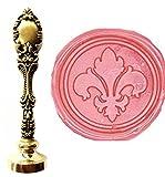 MNYR Sello de cera de flor de lis con mango de metal de bronce, invitaciones decorativas para amantes de Navidad, paquete de regalo de cera