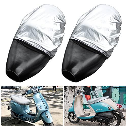 Funda de Asiento de Moto 2 Piezas Cubierta de Asiento de Moto de Cuero Impermeable Funda para Sillín de Moto, Universal Protector Asiento para Motocicleta Eléctrica y Scooter de Moto (Plata, 70*40cm)