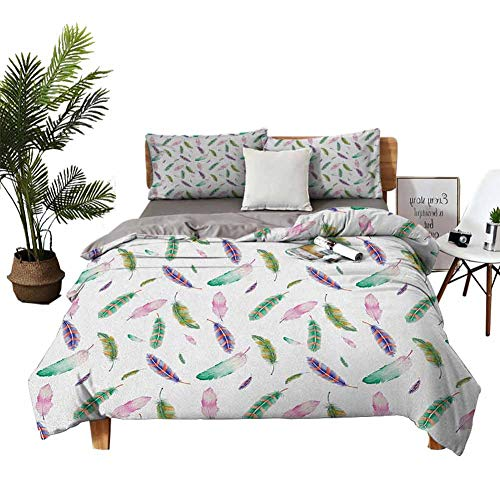 DRAGON VINES Sheets Full Set Feather Digitally Drawn Bird Feathers with Vibrant Abstract Design Animal Themed Artwork Christmas Toddler Bed Sheets Multicolor W103 xL90