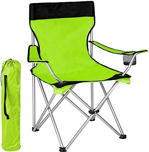 BAKAJI Spiaggina Sedia da Spiaggia Campeggio Pieghevole ad Ombrello Solida Struttura Tubolare in Ferro con Braccioli e Portabibita Colore Verde Dimensioni 83 x 50 x 95 cm