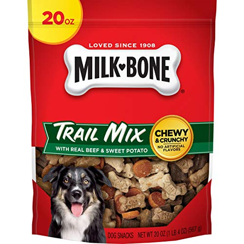 MilkBone Trail Mix Chewy and Crunchy Dog Treats Beef amp Sweet Potato 20 Oz Pouch