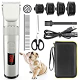 Avaspot Dog Clippers, Professional Cordless Electric Dog Grooming Kit, Low Noise Pet Clippers Rechargeable Dog Cat Shaver, Hair Trimmer for Thin Coats Small Dog