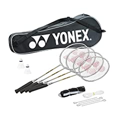 4 Rackets 2 Nylon Shuttlecocks 1 Set of Poles 1 Net Comes in a carrying case