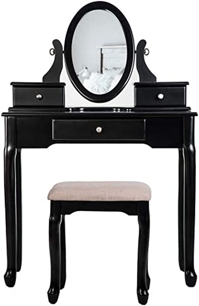TONGBOSHI Dressing Table With Dressing Table 3 Drawers And Mirror Bedroom Black White Color Black